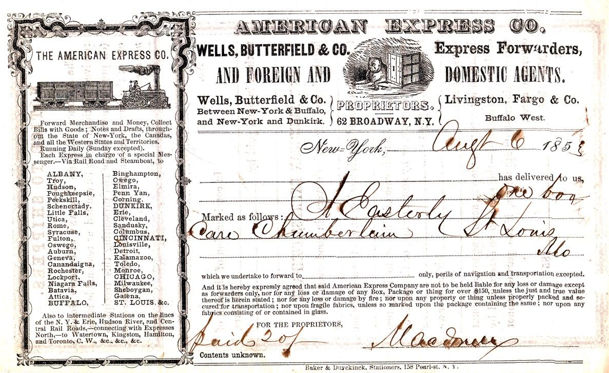 American Express Co.shipping receipt. New York, NY August 6, 1853. Compare this to our run-of-the-mill versions we see all the time today. (Image is public domain.)