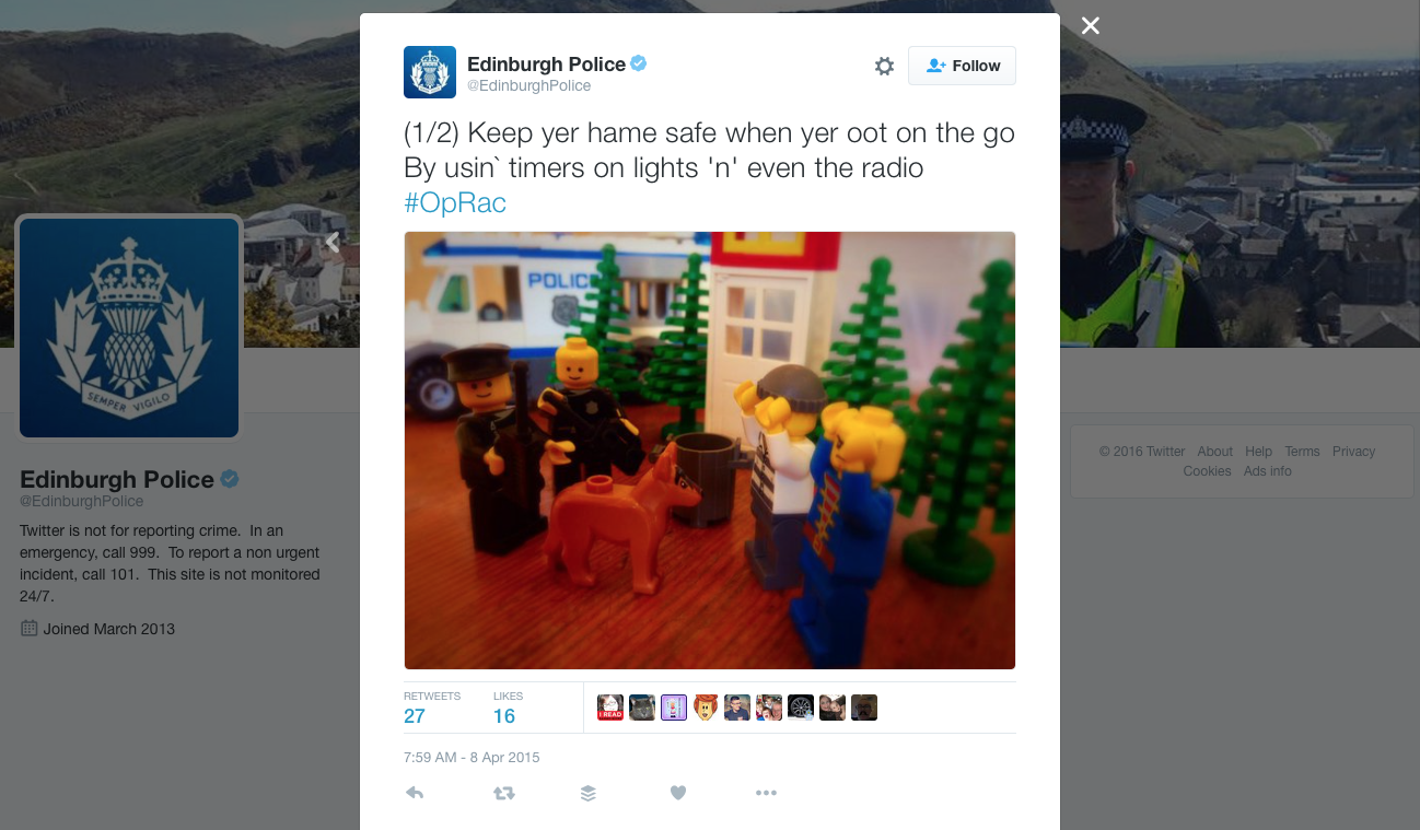 LEGOs are so cool that even Scotland's police use them.